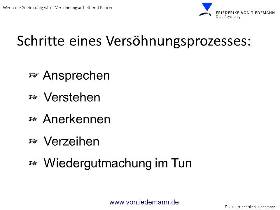 Wenn die Seele ruhig wird -Versöhnungsarbeit mit Paaren © 2011 Friederike v. Tiedemann www.vontiedemann.de Schritte eines Versöhnungsprozesses: Anspre