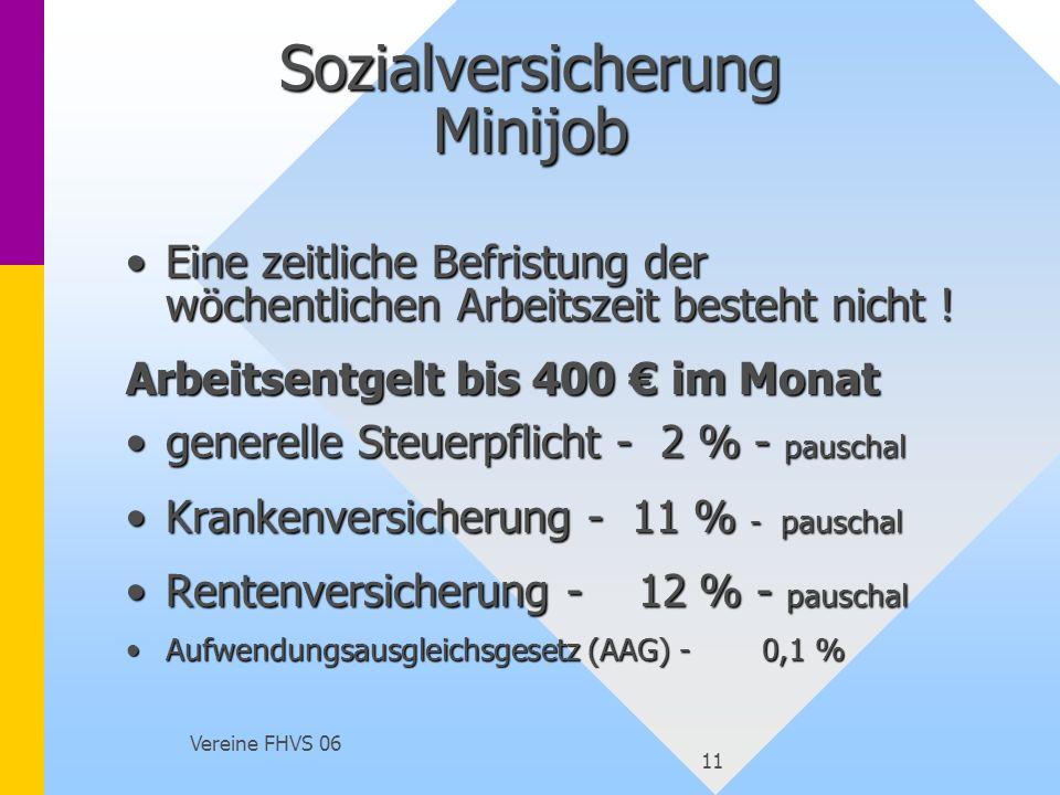Vereine FHVS 06 11 Sozialversicherung Minijob Eine zeitliche Befristung der wöchentlichen Arbeitszeit besteht nicht !Eine zeitliche Befristung der wöc
