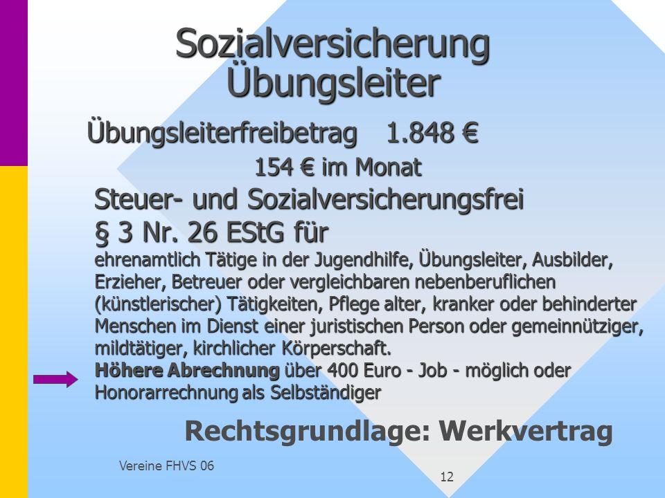 Vereine FHVS 06 12 Sozialversicherung Übungsleiter Übungsleiterfreibetrag1.848 154 im Monat Steuer- und Sozialversicherungsfrei § 3 Nr. 26 EStG für eh