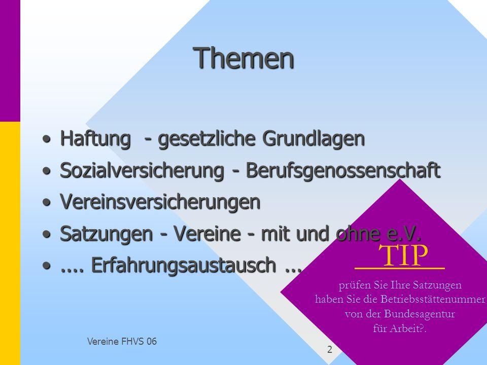 Vereine FHVS 06 23 Ansprechpartner Berufsgenossenschaft: http://www.vbg.de : 0 40 5 29 40, : 0 40 51 46 21 46 – service@vbg.de Unfallkasse des Saarlandes - www.uks.de : 06897 97 33 0 : 06897 97 33 37 IHK SAARLAND : Thomas Teschner : 0681 9520-200 : 0681 9520 690 http://www.saarland.ihk.de/ihk/fairplay/merkblaetter/g19.pdf Bürgertelefon des BMG: 0180 5 99 66 05 ECCLESIA Versicherungsdienst: 0 52 31 6 03 61 12 LAG Pro Ehrenamt - lag@pro-ehrenamt.de - www.pro-ehrenamt.de www.pro-ehrenamt.de : 0681 37 99 402; :0681 37 99 411 : 0681 37 99 402; :0681 37 99 411