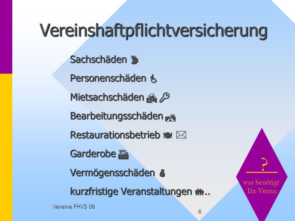 Vereine FHVS 06 17 Berufsgenossenschaften Unfallkassen Bereich öffentliche Hand § 2 Abs.1 Nr.