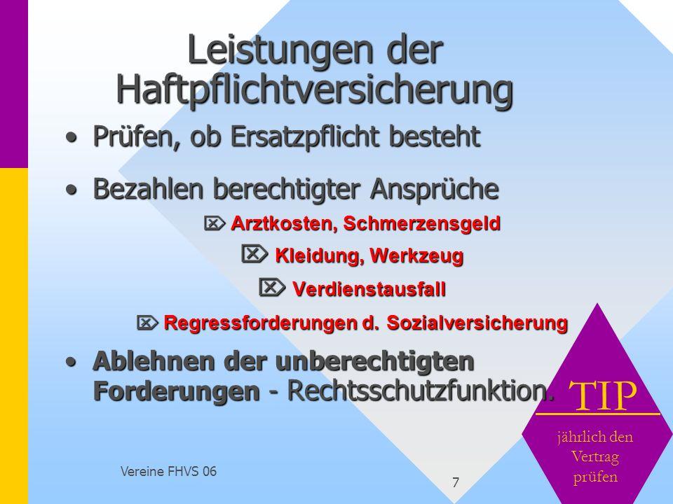 Vereine FHVS 06 7 TIP jährlich den Vertrag prüfen Leistungen der Haftpflichtversicherung Prüfen, ob Ersatzpflicht bestehtPrüfen, ob Ersatzpflicht best