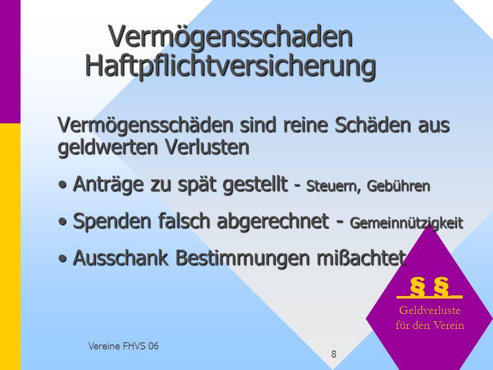 Vereine FHVS 06 9 Sozialversicherung Minijob - Minijob - www.minijob-zentrale.de Übungsleiterpauschale bis 1.848,- im Jahr Übungsleiterpauschale bis 1.848,- im Jahr Honorarkraft - Rechnung mit Steuernummer Honorarkraft - Rechnung mit Steuernummer Berufsgenossenschaft - Arbeitsauftrag für Helfer und freiwillig für gewählte Vorstände Berufsgenossenschaft - Arbeitsauftrag für Helfer und freiwillig für gewählte Vorstände Unfallversicherung - privat - Land Unfallversicherung - privat - Land