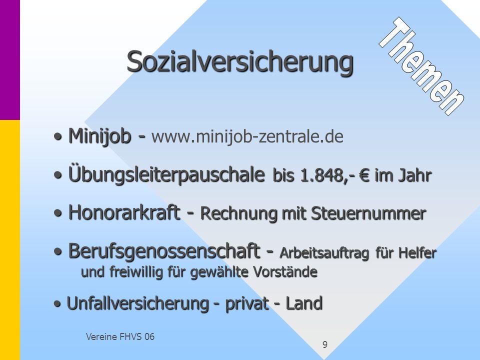 Vereine FHVS 06 9 Sozialversicherung Minijob - Minijob - www.minijob-zentrale.de Übungsleiterpauschale bis 1.848,- im Jahr Übungsleiterpauschale bis 1