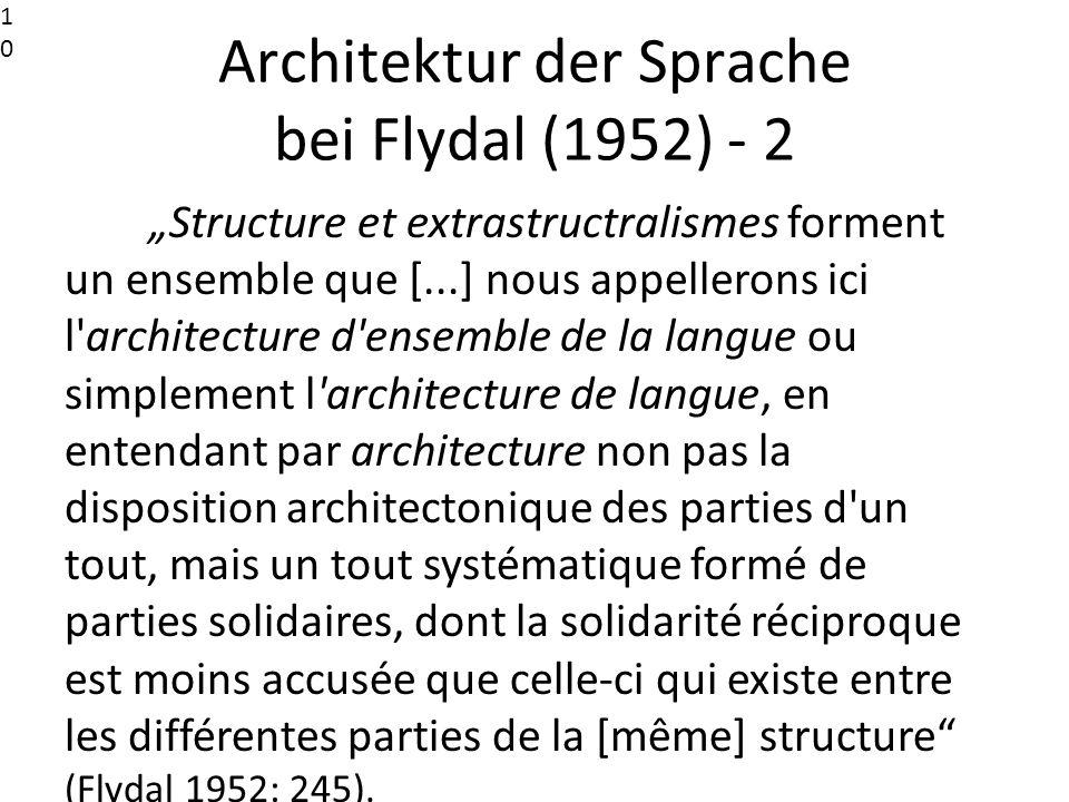 Architektur der Sprache bei Flydal (1952) - 2 Structure et extrastructralismes forment un ensemble que [...] nous appellerons ici l'architecture d'ens