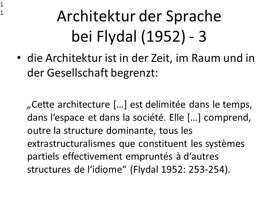 Architektur der Sprache bei Flydal (1952) - 3 die Architektur ist in der Zeit, im Raum und in der Gesellschaft begrenzt: Cette architecture […] est de