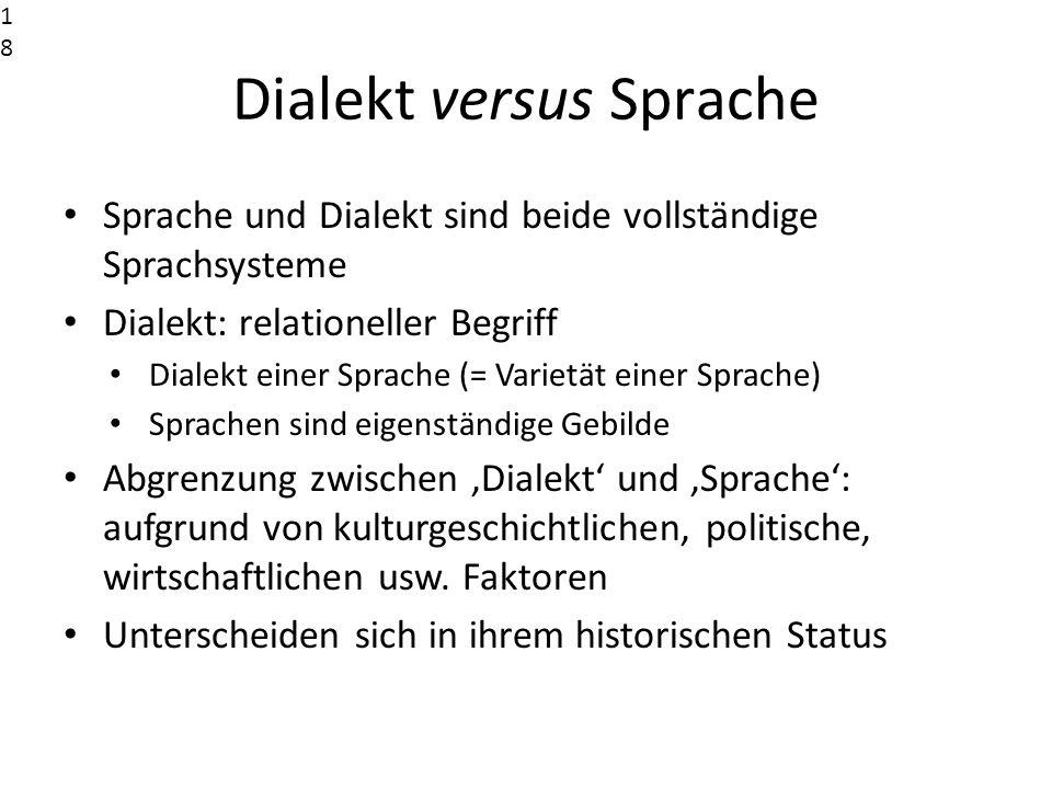 Dialekt versus Sprache Sprache und Dialekt sind beide vollständige Sprachsysteme Dialekt: relationeller Begriff Dialekt einer Sprache (= Varietät eine