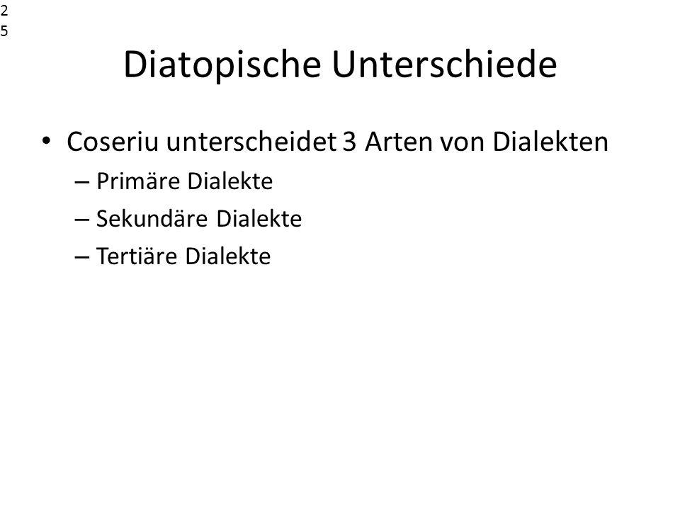 Diatopische Unterschiede Coseriu unterscheidet 3 Arten von Dialekten – Primäre Dialekte – Sekundäre Dialekte – Tertiäre Dialekte25