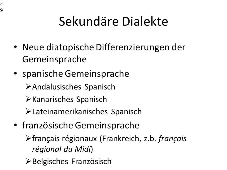 Sekundäre Dialekte Neue diatopische Differenzierungen der Gemeinsprache spanische Gemeinsprache Andalusisches Spanisch Kanarisches Spanisch Lateinamer