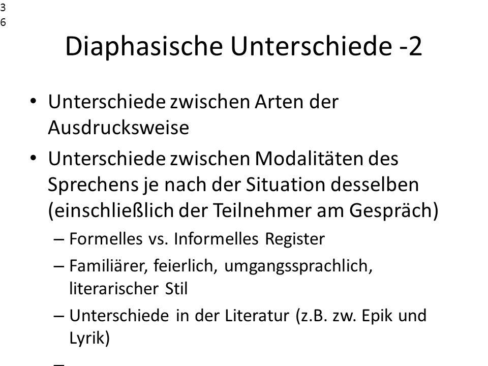 Diaphasische Unterschiede -2 Unterschiede zwischen Arten der Ausdrucksweise Unterschiede zwischen Modalitäten des Sprechens je nach der Situation dess