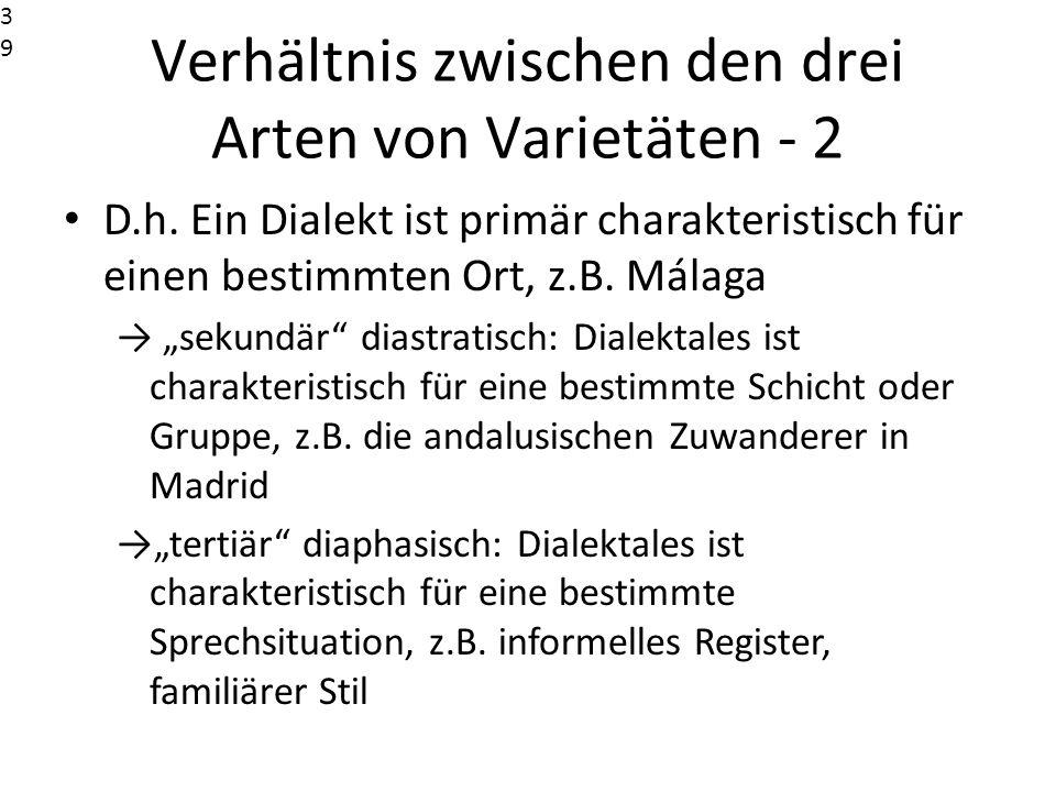 Verhältnis zwischen den drei Arten von Varietäten - 2 D.h. Ein Dialekt ist primär charakteristisch für einen bestimmten Ort, z.B. Málaga sekundär dias