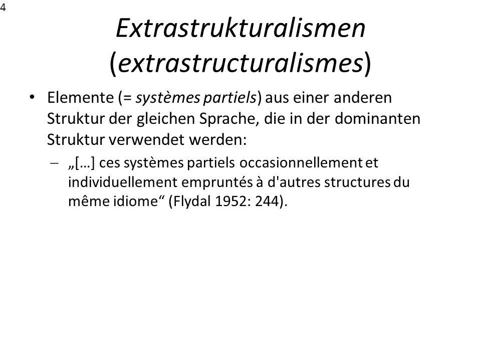 Extrastrukturalismen (extrastructuralismes) Elemente (= systèmes partiels) aus einer anderen Struktur der gleichen Sprache, die in der dominanten Stru