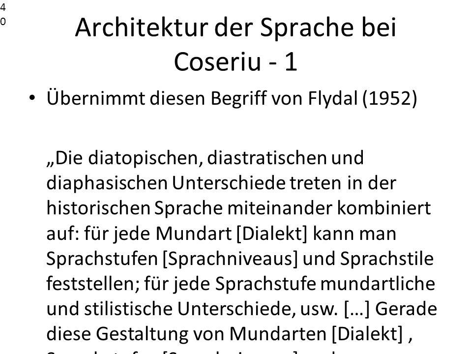 Architektur der Sprache bei Coseriu - 1 Übernimmt diesen Begriff von Flydal (1952) Die diatopischen, diastratischen und diaphasischen Unterschiede tre