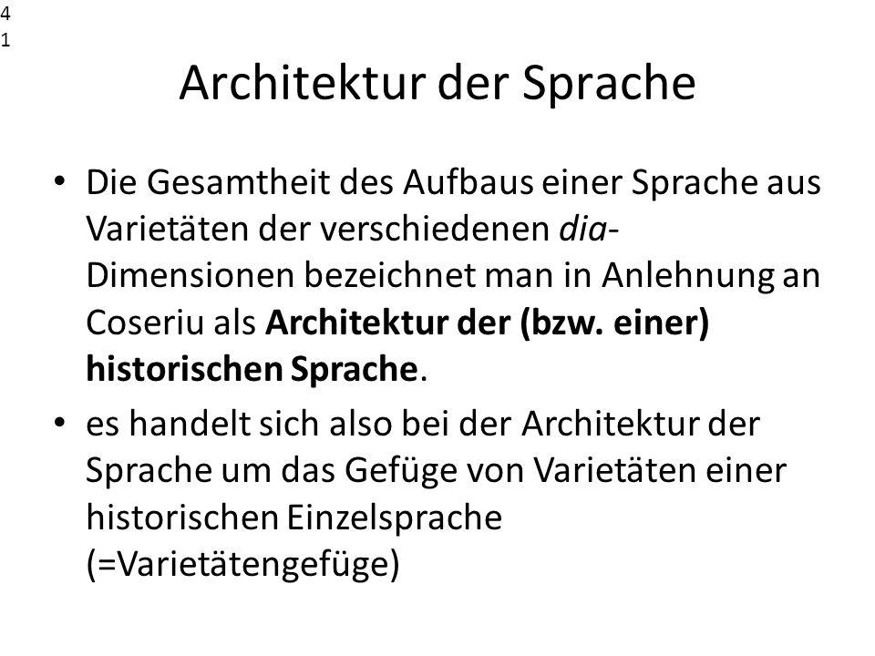 Architektur der Sprache Die Gesamtheit des Aufbaus einer Sprache aus Varietäten der verschiedenen dia- Dimensionen bezeichnet man in Anlehnung an Cose