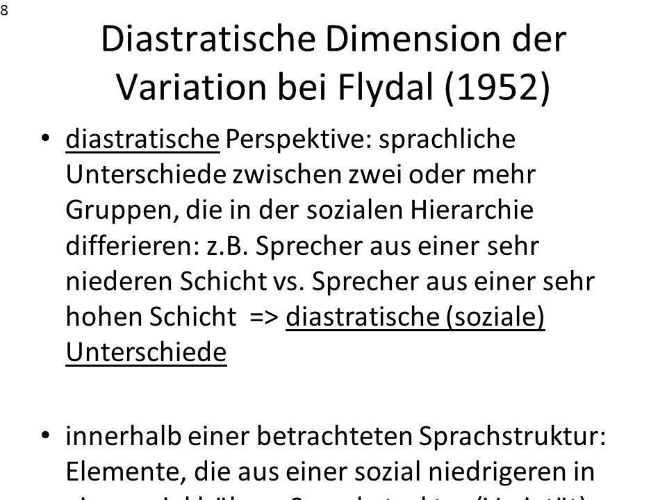 Diastratische Dimension der Variation bei Flydal (1952) diastratische Perspektive: sprachliche Unterschiede zwischen zwei oder mehr Gruppen, die in de