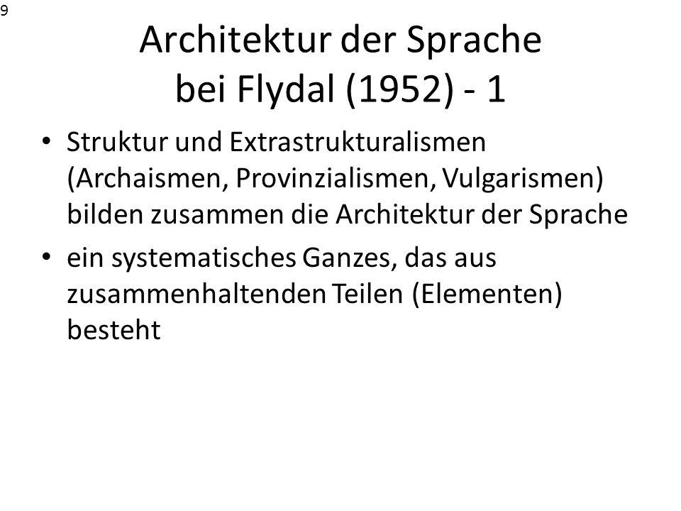 Architektur der Sprache bei Flydal (1952) - 2 Structure et extrastructralismes forment un ensemble que [...] nous appellerons ici l architecture d ensemble de la langue ou simplement l architecture de langue, en entendant par architecture non pas la disposition architectonique des parties d un tout, mais un tout systématique formé de parties solidaires, dont la solidarité réciproque est moins accusée que celle-ci qui existe entre les différentes parties de la [même] structure (Flydal 1952: 245).10