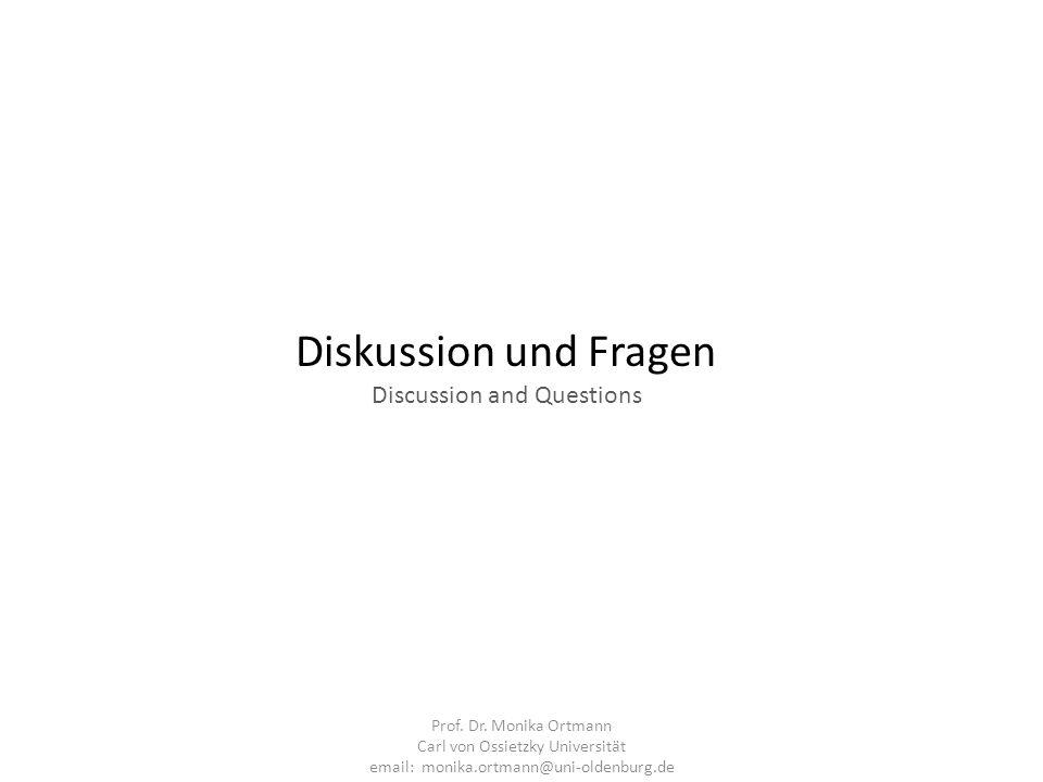Diskussion und Fragen Discussion and Questions Prof. Dr. Monika Ortmann Carl von Ossietzky Universität email: monika.ortmann@uni-oldenburg.de