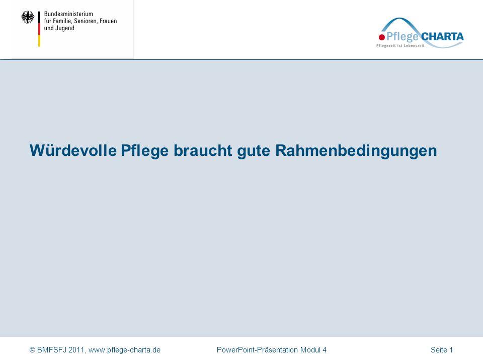 © BMFSFJ 2011, www.pflege-charta.dePowerPoint-Präsentation Modul 4 Anwendung der Präsentation durch Führungskräfte Dozentinnen und Dozenten Zielgruppe