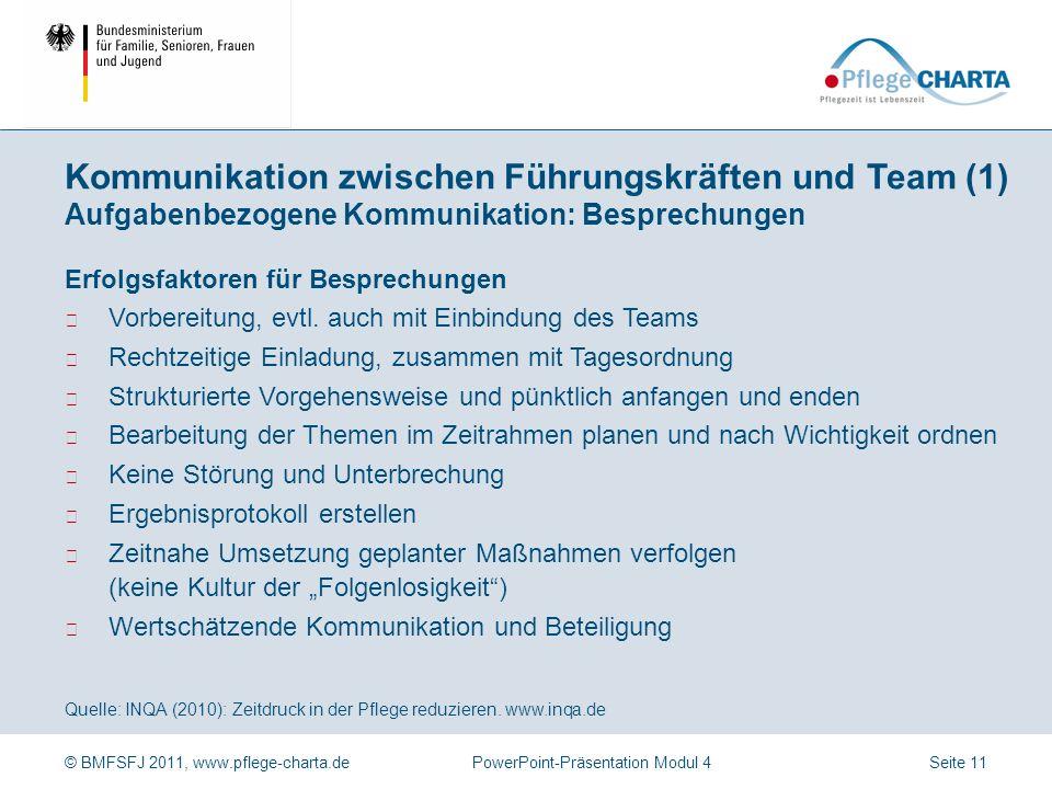 © BMFSFJ 2011, www.pflege-charta.dePowerPoint-Präsentation Modul 4 Quelle: INQA (2010): Zeitdruck in der Pflege reduzieren. www.inqa.de Hinter Spannun