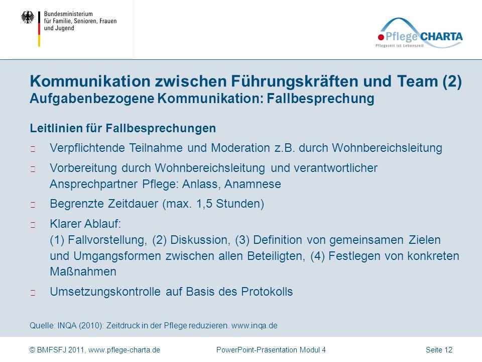 © BMFSFJ 2011, www.pflege-charta.dePowerPoint-Präsentation Modul 4 Quelle: INQA (2010): Zeitdruck in der Pflege reduzieren. www.inqa.de Erfolgsfaktore