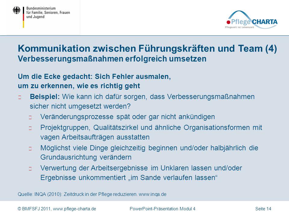 © BMFSFJ 2011, www.pflege-charta.dePowerPoint-Präsentation Modul 4 Quelle: INQA (2010): Zeitdruck in der Pflege reduzieren. www.inqa.de Fehler als wer