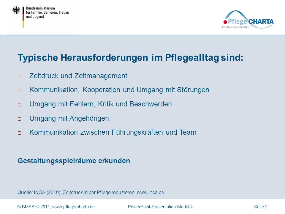 © BMFSFJ 2011, www.pflege-charta.dePowerPoint-Präsentation Modul 4 Würdevolle Pflege braucht gute Rahmenbedingungen Seite 1
