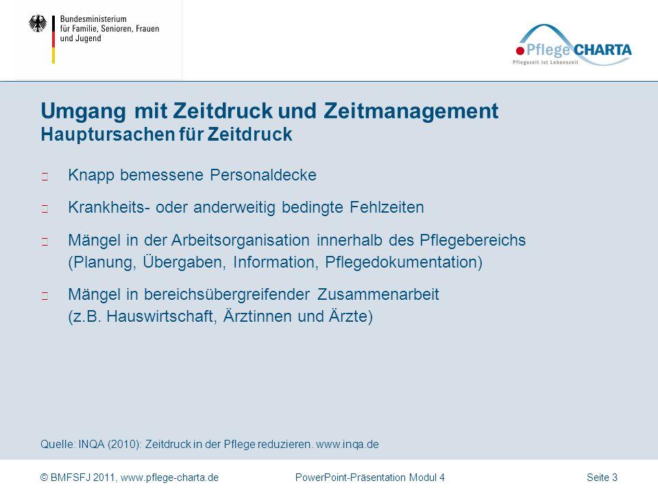 © BMFSFJ 2011, www.pflege-charta.dePowerPoint-Präsentation Modul 4 Quelle: INQA (2010): Zeitdruck in der Pflege reduzieren. www.inqa.de Zeitdruck und