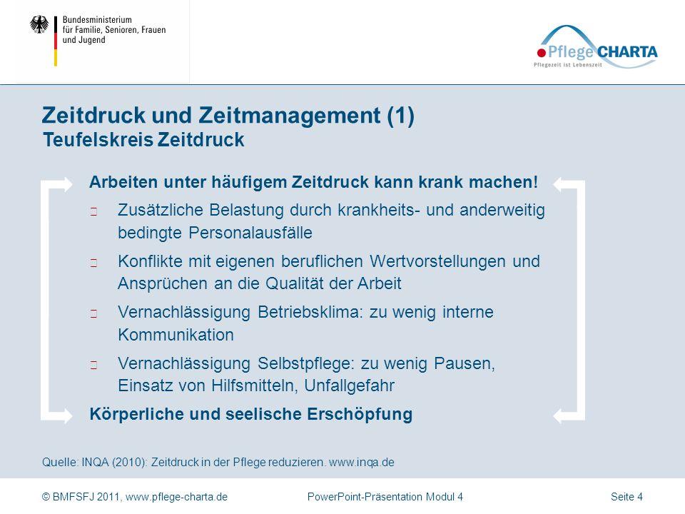 © BMFSFJ 2011, www.pflege-charta.dePowerPoint-Präsentation Modul 4 Quelle: INQA (2010): Zeitdruck in der Pflege reduzieren. www.inqa.de Knapp bemessen