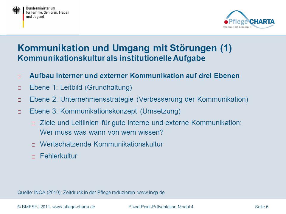 © BMFSFJ 2011, www.pflege-charta.dePowerPoint-Präsentation Modul 4 Quelle: INQA (2010): Zeitdruck in der Pflege reduzieren. www.inqa.de Fragestellunge