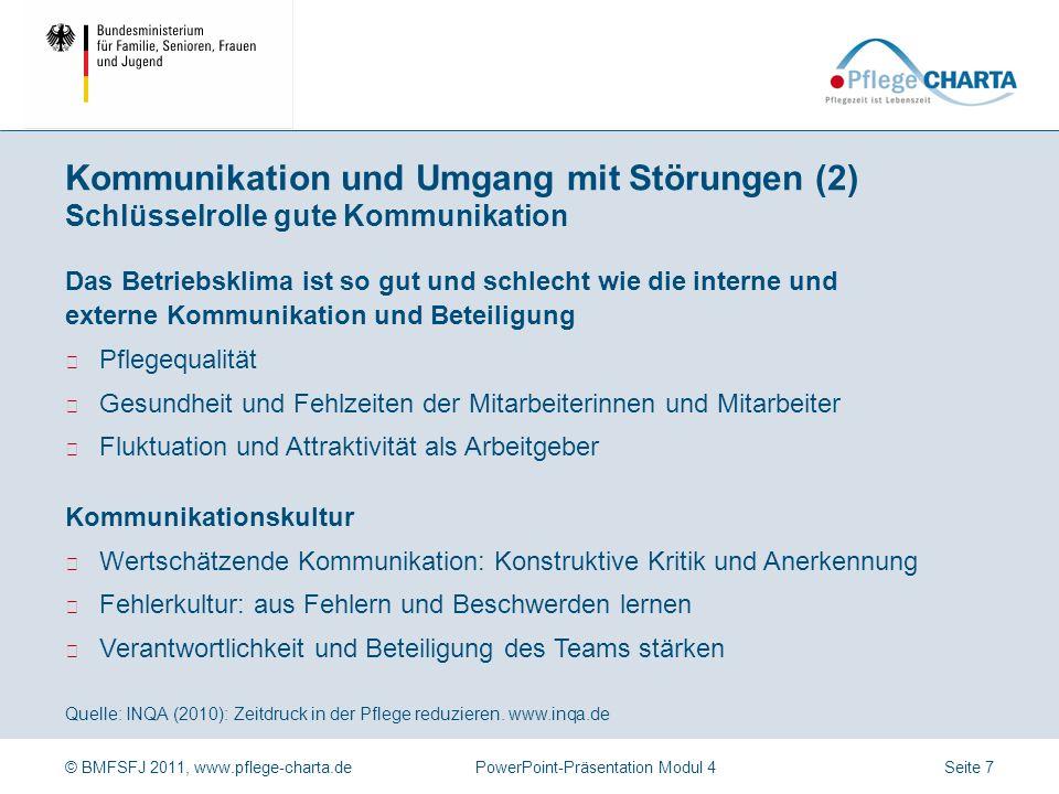 © BMFSFJ 2011, www.pflege-charta.dePowerPoint-Präsentation Modul 4 Quelle: INQA (2010): Zeitdruck in der Pflege reduzieren. www.inqa.de Aufbau interne