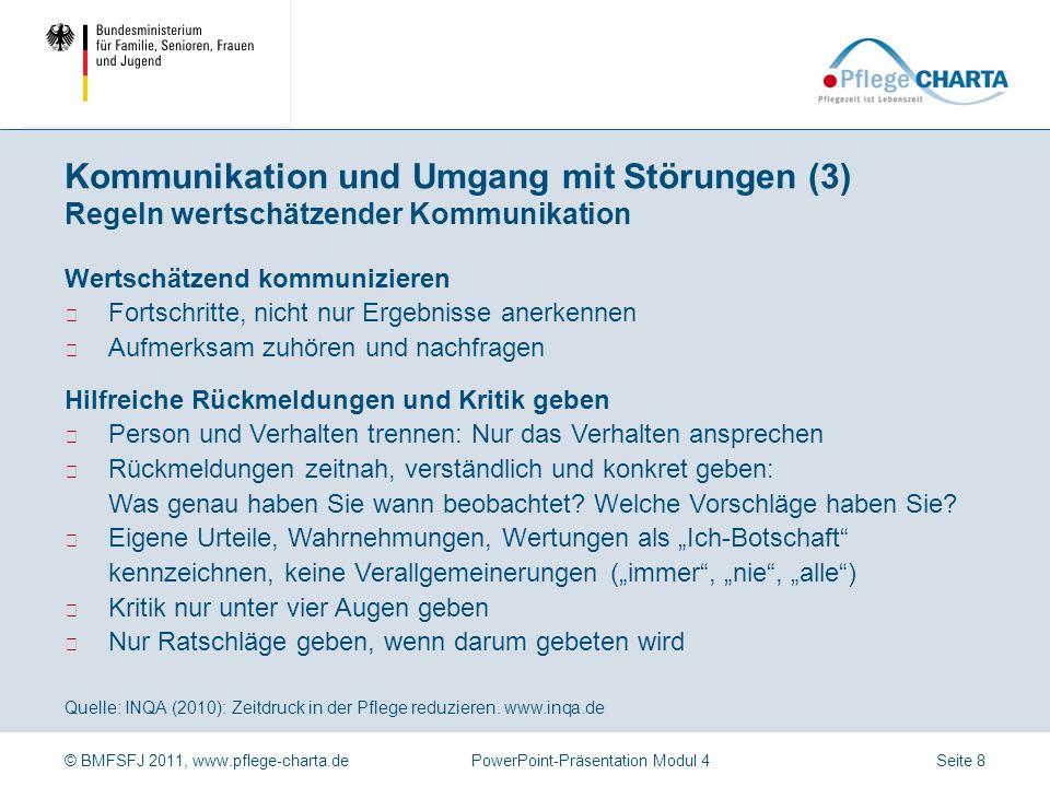 © BMFSFJ 2011, www.pflege-charta.dePowerPoint-Präsentation Modul 4 Quelle: INQA (2010): Zeitdruck in der Pflege reduzieren. www.inqa.de Das Betriebskl