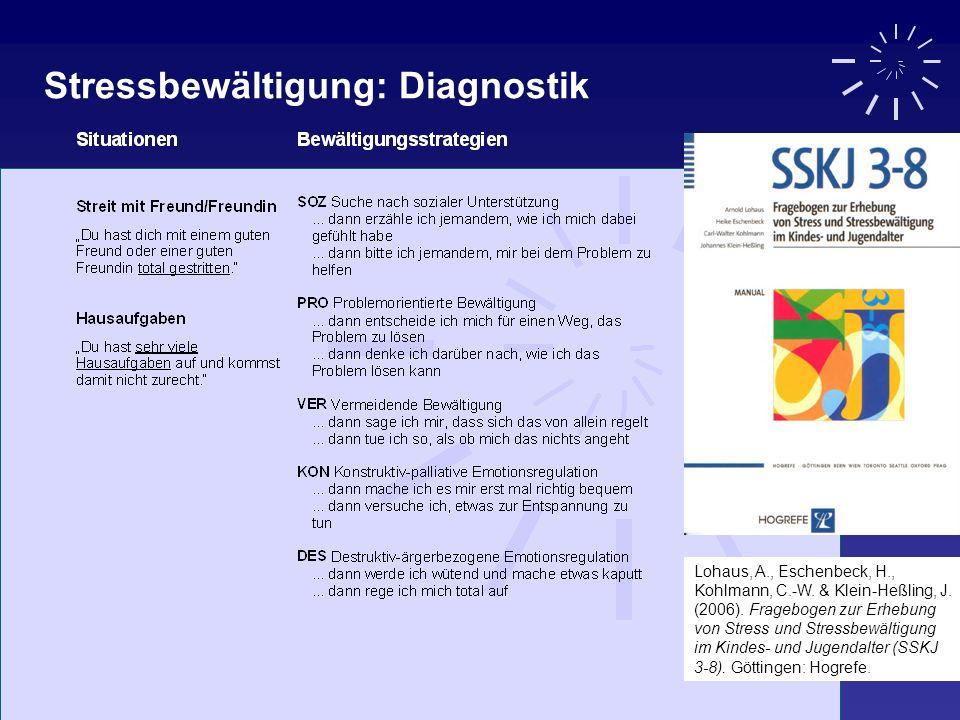 Lohaus, A., Eschenbeck, H., Kohlmann, C.-W. & Klein-Heßling, J. (2006). Fragebogen zur Erhebung von Stress und Stressbewältigung im Kindes- und Jugend