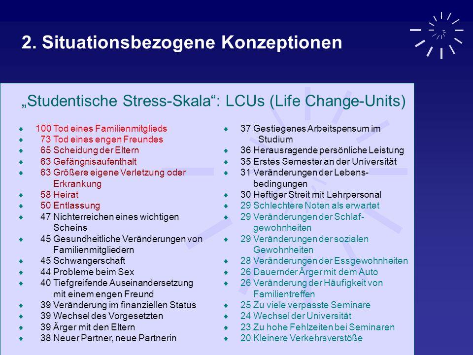 2. Situationsbezogene Konzeptionen Studentische Stress-Skala: LCUs (Life Change-Units) 100 Tod eines Familienmitglieds 73 Tod eines engen Freundes 65
