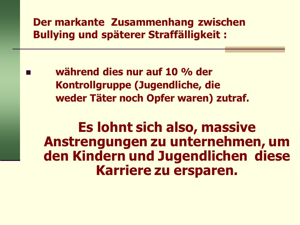Der markante Zusammenhang zwischen Bullying und späterer Straffälligkeit : während dies nur auf 10 % der Kontrollgruppe (Jugendliche, die weder Täter