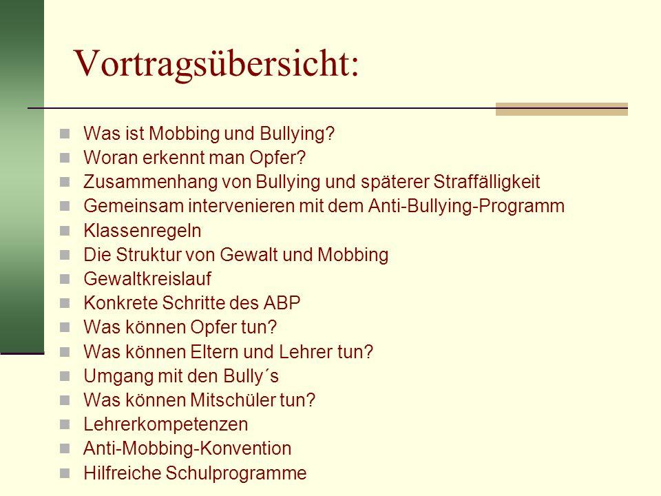 Vortragsübersicht: Was ist Mobbing und Bullying? Woran erkennt man Opfer? Zusammenhang von Bullying und späterer Straffälligkeit Gemeinsam intervenier
