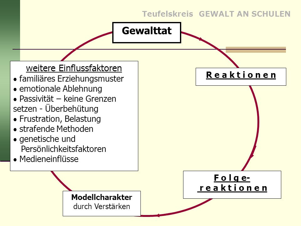 Teufelskreis GEWALT AN SCHULEN R e a k t i o n e n Gewalttat F o l g e- r e a k t i o n e n Modellcharakter durch Verstärken weitere Einflussfaktoren