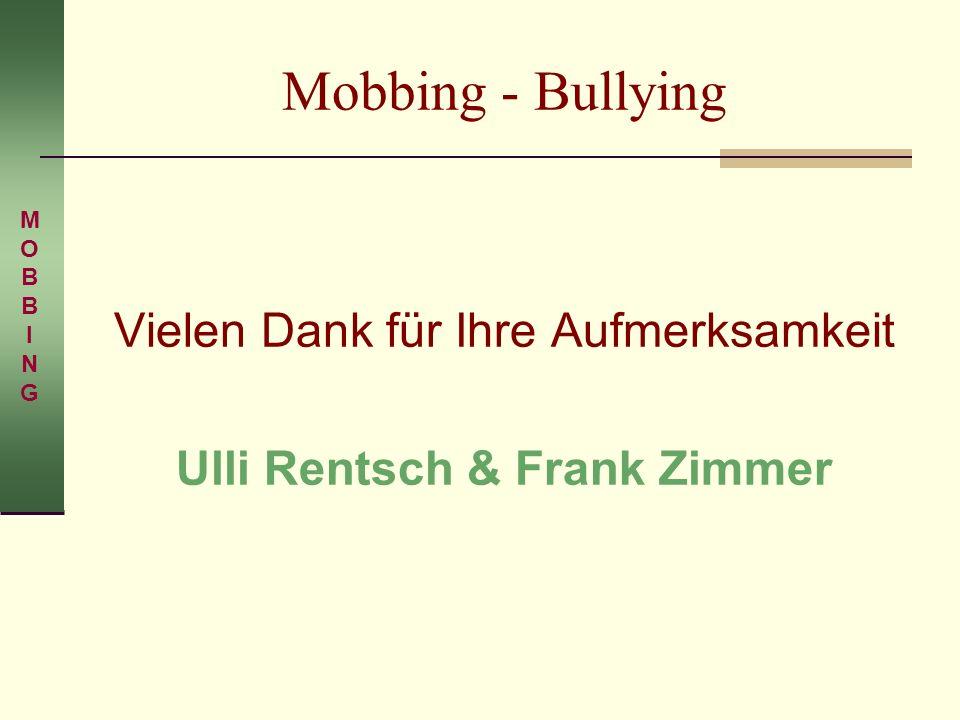 Mobbing - Bullying Vielen Dank für Ihre Aufmerksamkeit Ulli Rentsch & Frank Zimmer MOBBINGMOBBING