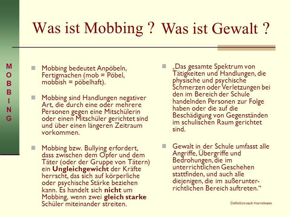 Was ist Mobbing ? Mobbing bedeutet Anpöbeln, Fertigmachen (mob = Pöbel, mobbish = pöbelhaft). Mobbing sind Handlungen negativer Art, die durch eine od