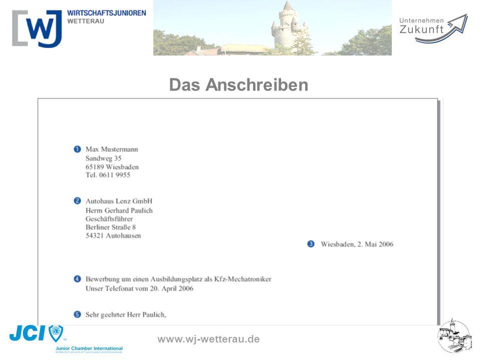www.wj-wetterau.de Das Anschreiben