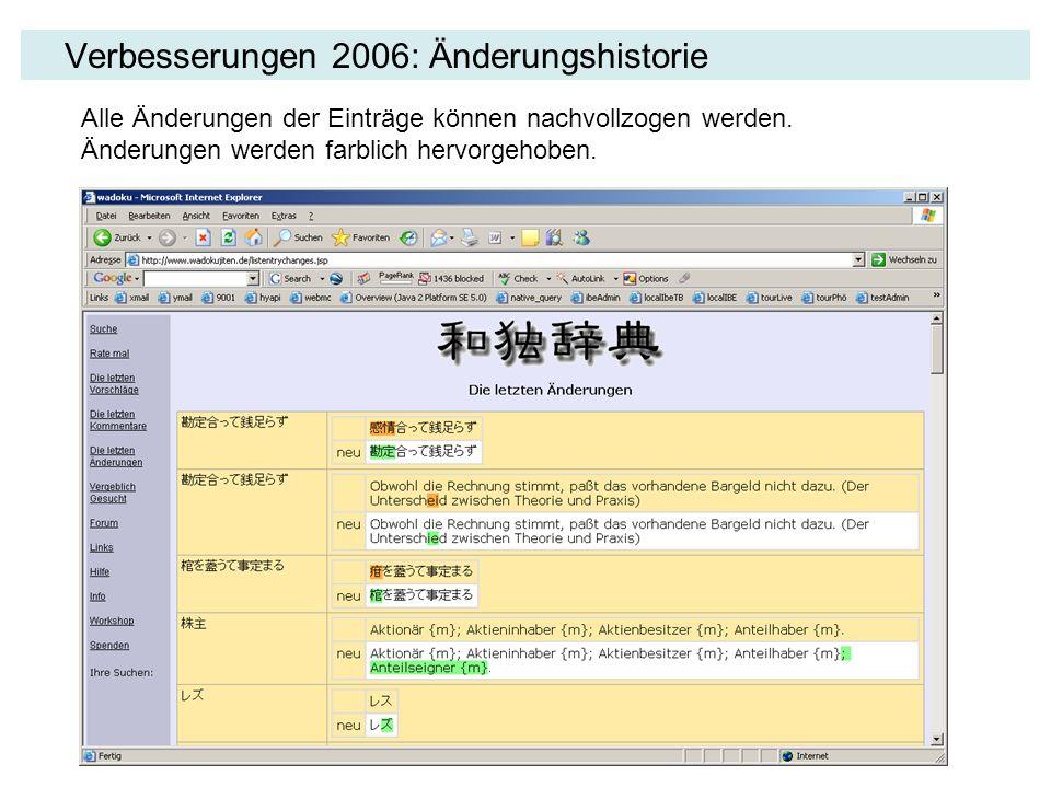 Verbesserungen 2006: Änderungshistorie Alle Änderungen der Einträge können nachvollzogen werden. Änderungen werden farblich hervorgehoben.