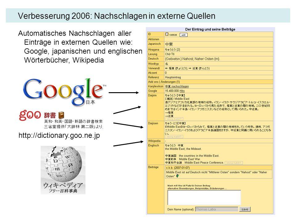 Verbesserung 2006: Nachschlagen in externe Quellen Automatisches Nachschlagen aller Einträge in externen Quellen wie: Google, japanischen und englisch