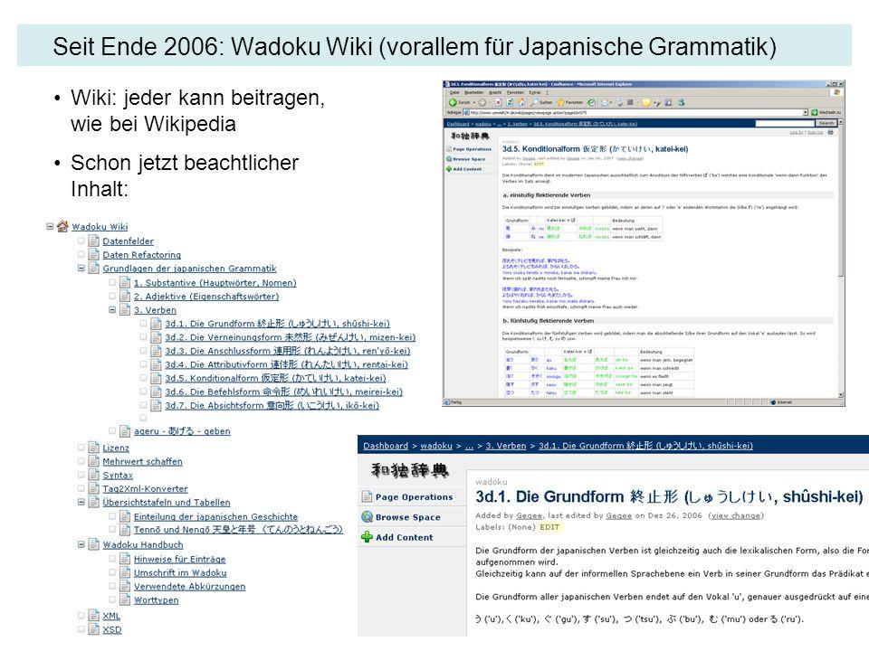 Seit Ende 2006: Wadoku Wiki (vorallem für Japanische Grammatik) Wiki: jeder kann beitragen, wie bei Wikipedia Schon jetzt beachtlicher Inhalt: