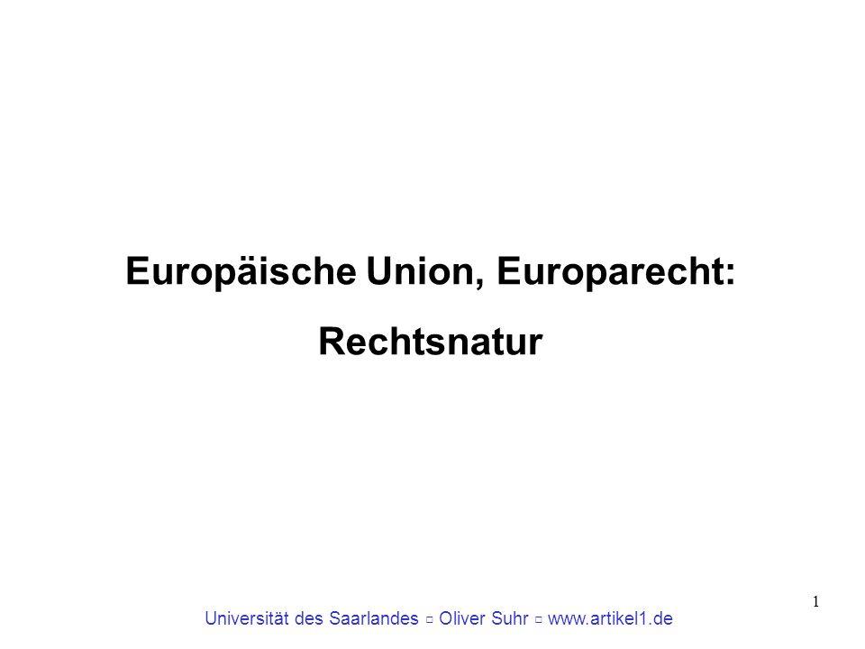 Universität des Saarlandes Oliver Suhr www.artikel1.de 1 Europäische Union, Europarecht: Rechtsnatur