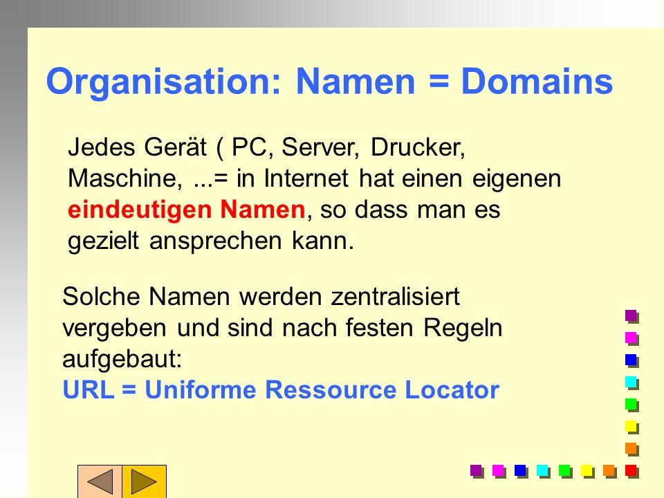 Hardware: Stationen im Netzwerk Web-Client: Rechner des Users = EmpfängerEmpfänger Web-Server: Anbieter einer Website Router: Rechner im Netz, die Anf