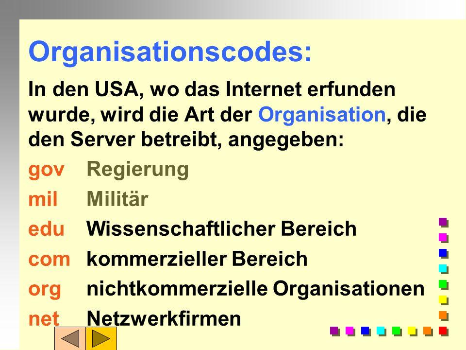 Ländercodes: Der Ländercode steht an letzte Stelle, dies gilt i.d.R für Rechner außerhalb USA de = Deutschland fr= Frankreich uk= Großbritannien jp= J
