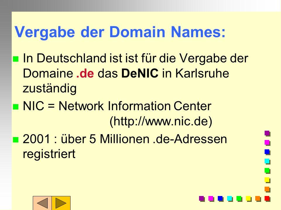 Domain Name Service: n DNS koordiniert die Namensvergabe, n ordnet Rechner be- stimmten Bereichen (Domains) im Internet zu und strukturiert so das Ang