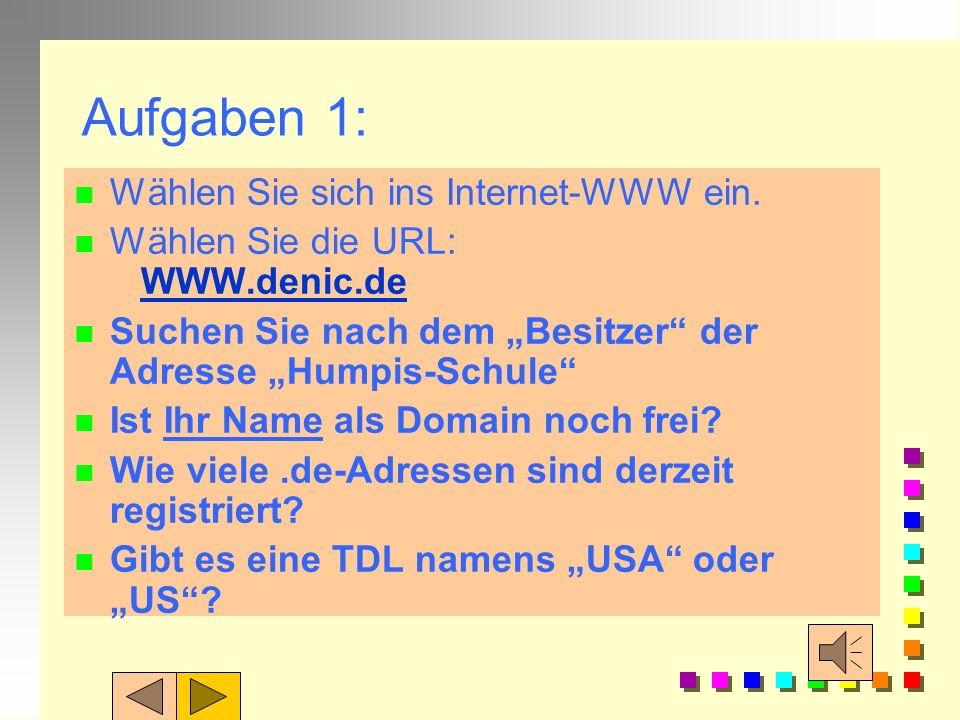 Vergabe der Domain Names: n In Deutschland ist ist für die Vergabe der Domaine.de das DeNIC in Karlsruhe zuständig n NIC = Network Information Center