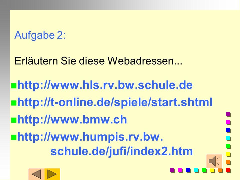 Adresse: Erweiterungen Nach dem Länder- oder Organisationscode muss noch der Name der Datei genannt werden, die übertragen werden soll. Bsp.: www.hump