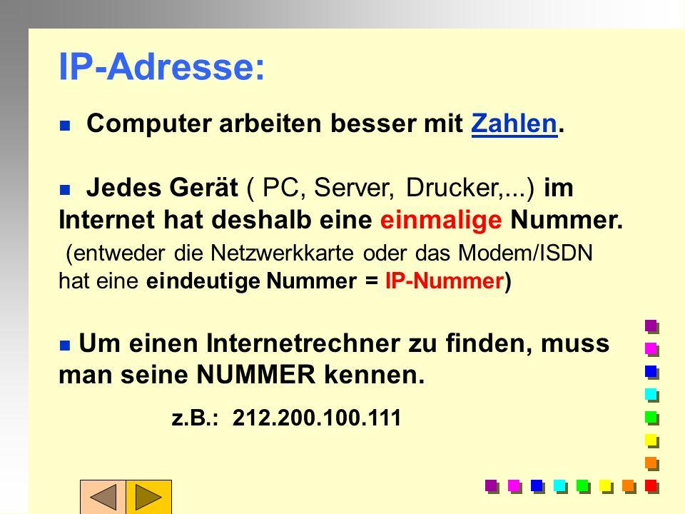 Aufgabe 2: Erläutern Sie diese Webadressen... n http://www.hls.rv.bw.schule.de n http://t-online.de/spiele/start.shtml n http://www.bmw.ch n http://ww
