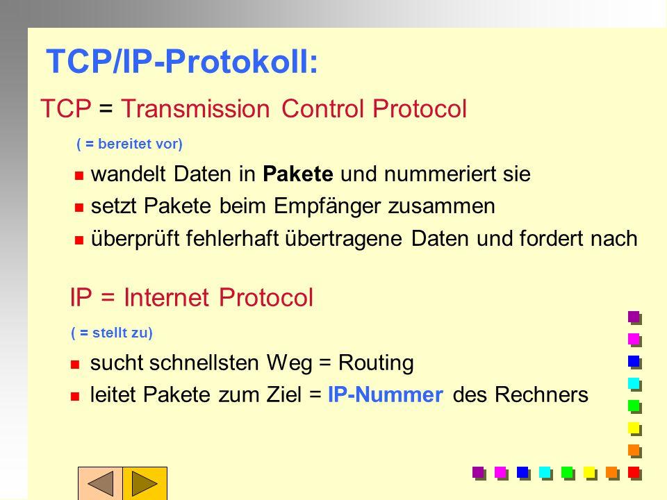 Protokolle: Damit sich Computer auch von verschiedenen Herstellern verstehen können,brauchen Sie eine gemeinsame Sprache: gemeinsame Regeln = Protokol